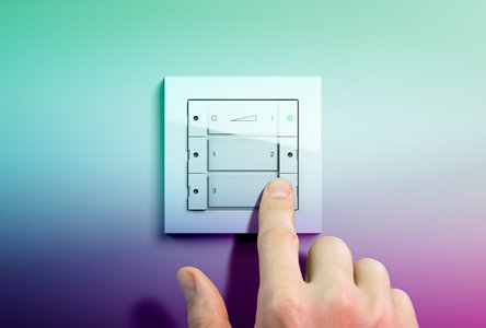 ZigBee Phillips Hue wall transmitter in the design of the design lines